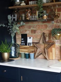 What's not to love! — HORNSBY STYLE - industrial kitchen- kitchen shelves- blue kitchen- exposed brick Best Picture For kitchen table F - Industrial Kitchen Design, Rustic Kitchen, Kitchen Interior, New Kitchen, Rustic Industrial Kitchens, Vintage Kitchen, Industrial Lamps, Kitchen Rug, Kitchen Floor