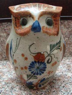 Vintage Tanala Mexico Pottery Stoneware Folk Art Owl