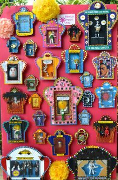 The colours of Mexico! Wall of nichos, Mexican boxes of folk art. Sold at Mexico Import Arts  #jjexplores