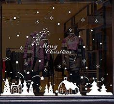 Diamond Shopping Mall Shop Windows Glass Wallpaper Stickers New Year Christmas Sun Snow Sled Window Hood Stickers