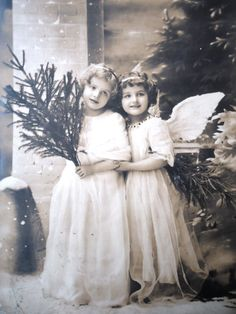 Antique Christmas postcard - Two angel girls children wings, snow snowflakes…