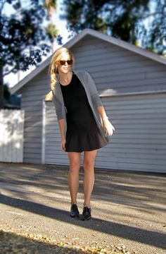 Black dress & grey cardi