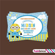 Despicable me minions baby shower welcome baby bert digital printable baby shower minions invitation by postalurbana 750 filmwisefo