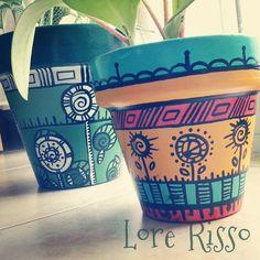 Macetas pintadas a mano Facebook: Lore Risso