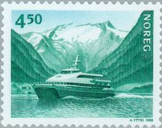Stamp%3A%20Motorship%20%22Kommandoren%22%20in%20Sognefjord%20(1991)%20(Norway)%20(Norden%201998%20-%20Coastal%20shipping)%20Mi%3ANO%201281%2CYt%3ANO%201238%2CAFA%3ANO%201279%20%23colnect%20%23collection%20%23stamps