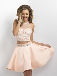 Blush 11171 is a two piece Mikado short party dress with a beaded illusion high neck top and a flare skirt.
