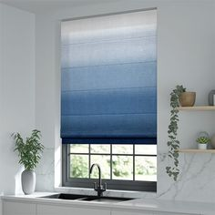 Ombre Midnight Roman Blind Outdoor Awnings, Outdoor Blinds, Roller Shutters, Roller Blinds, Double Story House, Stairs Window, Blinds Online, Kitchen Blinds, Front Windows