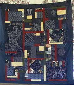 kerrys sashiko quilt Sashiko Embroidery, Japanese Embroidery, Boy Quilts, Sashimi, Yukata, Boro, Indigo Blue, Quilting Ideas, Fabric Art