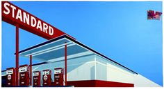 Gas Station Painting by Ed Ruscha