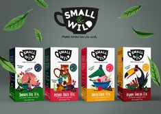 Small & Wild is The Adorable Herbal Tea Made Especially For Little Ones - Small_Wild_-_Range_-_Childrens_Tea_Branding_Packaging. Kids Packaging, Juice Packaging, Beverage Packaging, Coffee Packaging, Brand Packaging, Tea Brands, Design Poster, How To Make Tea, Packaging Design Inspiration