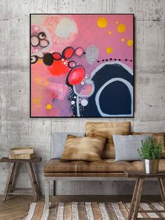 Abstract acrylic painting with dimensions 90x90cm. This picture is feminine, colourful, cheeky and just a good mood. Wild circles balls in pink, yellow and white over the canvas. A wonderful eye-catcher for a female room, a dreary corridor, a bright entrance area or an airy living