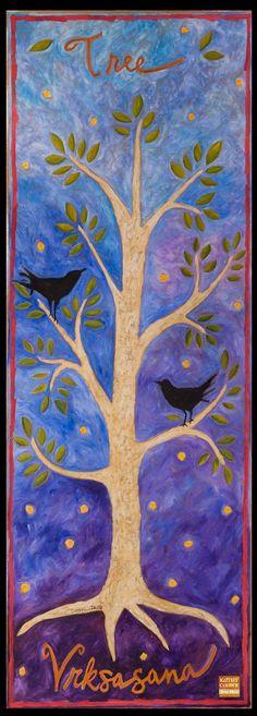 Tree Pose Vrksasana Yoga Mat painted by artist Kathy Cooper. Buy fine art yoga mats by floorcloths artist and author Kathy Cooper. Bikram Yoga, My Yoga, Yoga Mat Bag, Yoga Mats, Original Art, Original Paintings, Floor Cloth, Floor Rugs, Bird Crafts