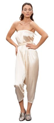 silk charmeuse dhoti pant (worn as a jumpsuit)