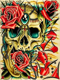 Petals by Tyler Bredeweg Skull Jewels Roses Tattoo Canvas Art Print – moodswingsonthenet