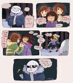 Frisk, Chara, and Sans - comic