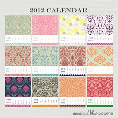 Great for a desktop background too!  2012 Free Printable Calendar from Anna