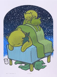 "ryan the sleepers""The Sleepers"" by Jay Ryan. 18″ x 24″ 5-color Screenprint. Ed of 80 S/N."