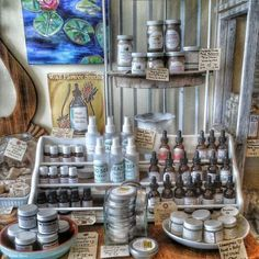 """Apothecary display, I like the"""" levels """"it has . It can be inspiration for display vignette"""