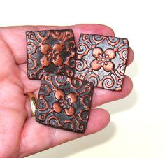 Ceramic Magnets Set of 3 Copper & Black Dogwood by midnightcoiler