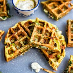 Greek Spinach, Feta and Potato Waffle served with garlicky Tzatziki dip. Delicious hot or cold.