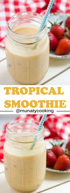 Tropical Smoothie Recipe, refreshing tropical drink, full of all the goodness fresh fruits and coconut milk and bring you. Tea Recipes, Coffee Recipes, Brunch Recipes, Breakfast Recipes, Dessert Recipes, Drink Recipes, Cooking Recipes, Yogurt Smoothies, Good Smoothies