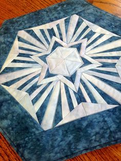 Quilted Table Topper in Paper Pieced Star by MulberryPatchQuilts
