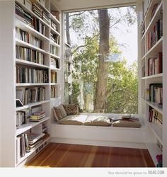 Bibliothèque + banc + baie vitrée