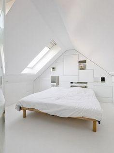 Inspiration Beautiful Attic Bedroom Design: Pure White And Bright Attic Bedroom In Belgium