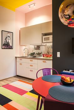 Kitchen, colours, pink, yellow, pop