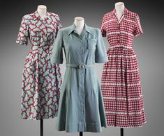 Great shapes. WWII-era British dresses