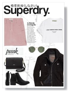 """""""The Cover Up – Jackets by Superdry: Contest Entry"""" by dchatzin ❤ liked on Polyvore featuring Superdry, DKNY, Ray-Ban and Off-White"""