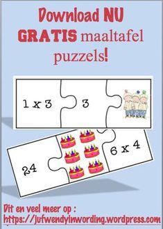 Maaltafel puzzel door Juf Wendy in wording School Stress, Busy Boxes, Math Multiplication, Kids Growing Up, Montessori Materials, Numeracy, School Hacks, Primary School, Homeschool