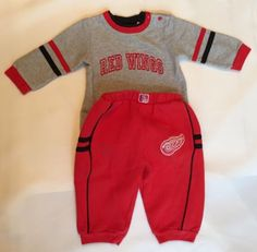 Detroit-Red-Wings-12-Month-Sweatshirt-Sweatpant-Toddler-Baby-Shirt-Romper-Hockey