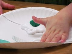 green eggs and ham (the egg is glue and shaving cream, the green is a green pompom