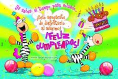 Zebras Ele y Gala celebrando cumpleaños © ZEA www.tarjetaszea.com