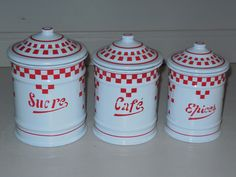 Set of 3 VINTAGE French Enamelware CANISTERS / LUSTUCRU pattern