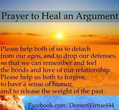 Doreen Virtue's prayer to heal an arguement