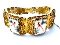 Chinese Export Gold Washed Sterling Silver Bracelet