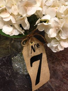 15 Burlap Wedding TABLE NUMBERS - Centerpieces - Custom Embroidered