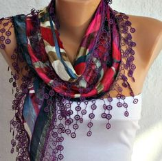 -Multicolor Silvery Cotton  Scarf  Headband by fatwoman, $15.00