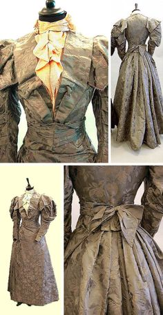 Circa 1895 Day gown by Worth. Gray damask satin woven with fuchsias and trimmed with steel beads. Three pieces: bodice, skirt, and belt. Via Kerry Taylor Auctions/Invaluable. 1890s Fashion, Edwardian Fashion, Vintage Fashion, Antique Clothing, Historical Clothing, Vintage Gowns, Vintage Outfits, Victorian Costume, Victorian Era