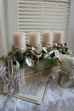a freshly scented Christmas wreath, the fresh green of the conifers, the splendor of the light …. An Advent wreath with the charm of a winter landscape, from the … Source by JKMOL Christmas Advent Wreath, Christmas Candles, Christmas Centerpieces, Rustic Christmas, Winter Christmas, Christmas Themes, Handmade Christmas, Christmas Crafts, Christmas Decorations