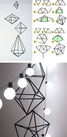 hang from the ceiling! Diy Projects To Try, Crafts To Do, Paper Crafts, Diy Crafts, Straw Crafts, Bijoux Fil Aluminium, Deco Nature, Geometric Decor, Ideias Diy