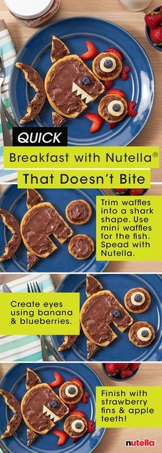 Send the kids off to school with a quick breakfast recipe they can really sink their teeth into. All you need are waffles, fresh fruit and Nutella® to whip up this delicious sea scene.
