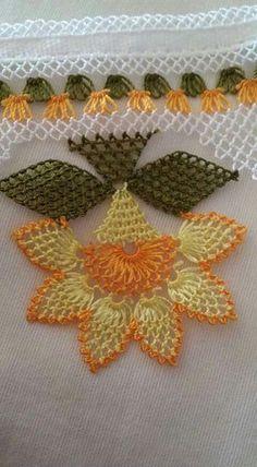 Needle Lace Writing Models and Towel Edge Models, - Crochet Unique, Crochet Lace Edging, Crochet Borders, Crochet Trim, Love Crochet, Crochet Flowers, Crochet Stitches, Knit Crochet, Crochet Patterns