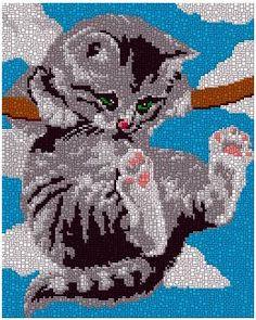 Swinging Cat Cross Stitch Animals, Cross Stitch Kits, Cross Stitch Embroidery, Cross Stitch Patterns, Painting Templates, Graph Design, Erdem, Betty Boop, Needlework