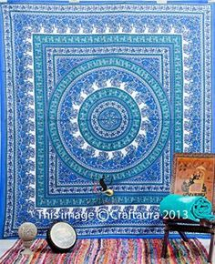 Blue Hippie Tapestry Wall Hanging Mandala Tapestries Wall Hanging Indian Wall Tapestries for Dorms, Bohemian Decor Queen Bedding, Large Tapestries Beach Blanket