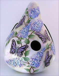 Butterfly Bush, Purple Butterfly, Blue Flowers, Gourds Birdhouse, Hand Painted Gourds, Gourd Art, Bird Houses, Outdoor Decor, Etsy