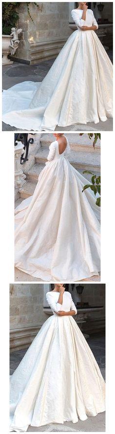 Ivory Wedding Dresses,Plus Size Wedding Dresses,Cheap Wedding Dresses, Beach Wedding Dresses,Long Sleeve Wedding Dresses,Vintage Wedding Dresses, #weddingdress #weddings #weddinginspiration #laceweddingdresses #backless#beachwedding #vintagewedding #longsleeveweddingdress