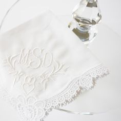 Irish Claddagh Design And Monogram With Cluny Lace Cotton Handkerchief Is A Perfect For Weddings Special Gifts Or St